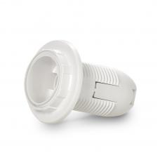 Патрон Е14 пластиковый с кольцом БЕЗ стикера, термостойкий пластик, белый (SBE-LHP-sr-E14-ns)