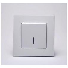 Eqona Выключатель 1-клав. с подсветкой Белый