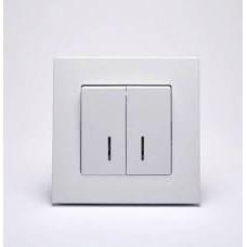 Eqona Выключатель 2-клав. с подсветкой Белый