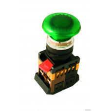 """Кнопка AELA-22 """"Грибок"""" зеленый d22мм неон/230В 1з+1р TDM*, шт"""