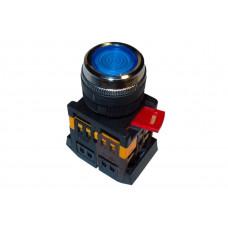 Кнопка ABLFS-22 синий d22мм неон/230В 1з+1р TDM*