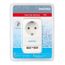 Адаптер-фильтр Smartbuy, 1 гнездо с заземлением 16A, 2 USB2.1 A (SBE-16-A05-USB)