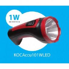 Фонарь светодиодный аккумуляторный КОСМОС Ассu101WLED,2режима,1WLED,500mah,зарядка от сети