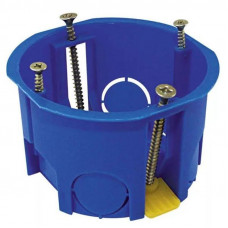 Установочная коробка СП D68х45 мм, саморезы, пл. лапки, синяя, IP20, TDM