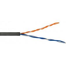 Внешний кабель: DeTech UTP CAT5E 2PR 0.5mm CCA Premium, ПЭТ-оболочка, черный, 305м