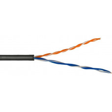 Внешний кабель: DeTech UTP CAT5E 2PR 0.5mm CU Premium, ПЭТ-оболочка, черный, 305м