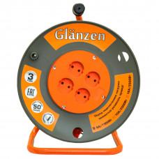 Удлинитель силовой на катушке GLANZEN 4 гн. ПВС 2х1,5 EB-50-006(1*2=2)