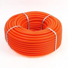 Труба гофрированная ПНД d=25мм с зондом оранжевая (75м) Plast EKF