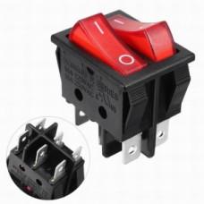 Клавишный переключатель IRS-101-R красный с подсветкой двойной 2 положения 1з+1з TDM*