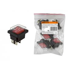 Клавишный переключатель YL-208-01 черный корпус красная клавиша (влагозащищенный) 2 положения 2з TDM
